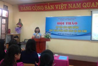 Cô giáo Lưu Thị Lập – Hiệu trưởng phát biểu chỉ đạo Hội thảo